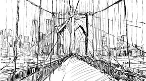 Sketch of cityscape in New York show Brooklyn Bridge and buildin Royalty Free Stock Photos