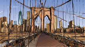Sketch of cityscape in New York show Brooklyn Bridge and buildin Stock Images