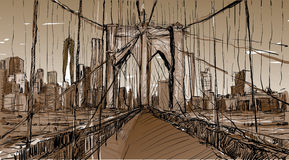 Sketch of cityscape in New York show Brooklyn Bridge and buildin Royalty Free Stock Images