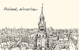 Sketch Cityscape of Poland, Wroclaw city ,free hand draw illustr Royalty Free Stock Images