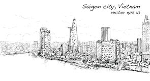 Sketch cityscape of Saigon city  Ho Chi Mihn  Vietnam show sky Stock Images