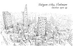 Sketch cityscape of Saigon city  Ho Chi Mihn  Vietnam show sky Stock Photo