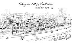 Sketch cityscape of Saigon city  Ho Chi Mihn  Vietnam show sky Stock Photography