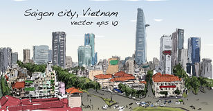 Sketch cityscape of Saigon city Ho Chi Minh show building capi. Tal in town, illustration vector illustration