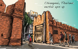 Sketch of cityscape show aisa heritage Tha Phae gaet in Chiangma. I Thailand, illustration vector Stock Photo