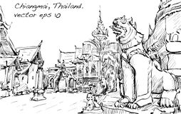 Sketch of cityscape show asia style temple space in Thailand, il Stock Photo
