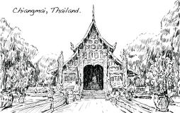 Sketch of cityscape show asia style temple space in Thailand, il Stock Image