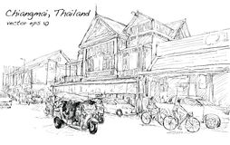 Sketch of cityscape show asia style trafic on street and buildin Royalty Free Stock Photo