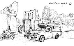 Sketch of cityscape show asia style trafic on street and buildin Stock Photos