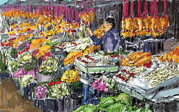 Sketch of cityscape show flower market on street in Thai, illutr Royalty Free Stock Photography