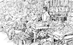 Sketch of cityscape show flower market on street in Thai, illutr Stock Photo