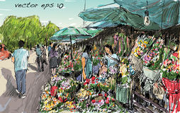 Sketch of cityscape show flower market on street in Thai, illutr Royalty Free Stock Photo