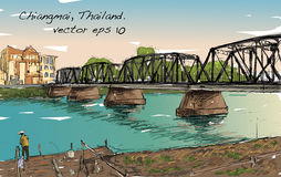 Sketch of cityscape show iron bridge in Chiangmai Thailand Royalty Free Stock Images