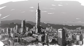 Sketch of cityscape show townscape in Taiwan, Taipei building Stock Photo