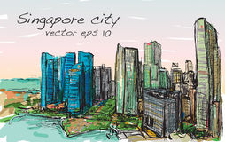 Sketch cityscape of Singapore building skyline, free hand draw  Royalty Free Stock Images