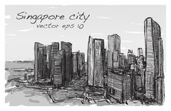 Sketch cityscape of Singapore building skyline, free hand draw  Stock Photos