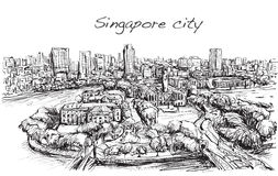 Sketch cityscape of Singapore building skyline, free hand draw  Stock Images