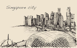 Sketch cityscape of Singapore skyline, free hand draw  Stock Images
