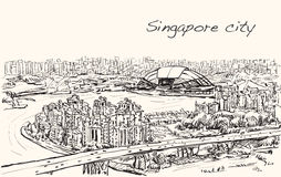 Sketch cityscape of Singapore skyline on topview Sports Hub. And river, free hand draw illustration vector Stock Image
