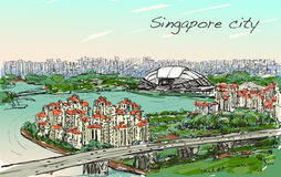Sketch cityscape of Singapore skyline on topview Sports Hub. And river, free hand draw illustration vector Stock Photos