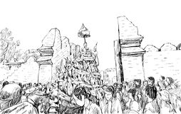 Sketch of cityscape in Thailand show traditional parade Royalty Free Stock Photo