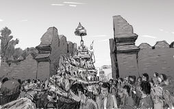 Sketch of cityscape in Thailand show traditional parade Royalty Free Stock Photography
