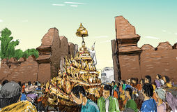 Sketch of cityscape in Thailand show traditional parade Royalty Free Stock Images