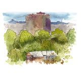 Sketching the urban landscape with watercolor. vector illustration