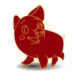 Sketch of a claret-colored piglet, cartoon on a white background. Vector Stock Images