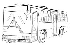 Sketch of Classic Big Bus, Low Angle Perspective. Vector Sketch of Classic Big Bus, Low Angle Perspective Stock Photography