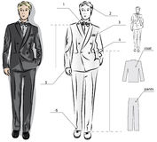 Sketch of the classic men's suit Stock Photography