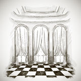 Sketch of a classic parlor ballroom Royalty Free Stock Photo