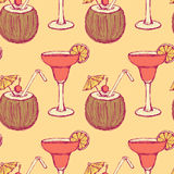 Sketch cocktail with coconut in vintage style Royalty Free Stock Photos