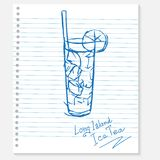 Sketch cocktail on a notebook sheet Royalty Free Stock Image
