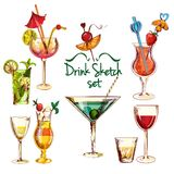 Sketch Cocktail Set Stock Photos