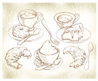 Sketch of coffee and bakery. Royalty Free Stock Photography
