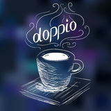 Sketch of coffee doppio Royalty Free Stock Photography