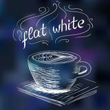 Sketch of coffee flat white Royalty Free Stock Images