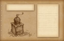 Sketch of coffee grinder Royalty Free Stock Image
