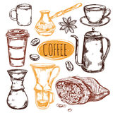 Sketch Coffee Icon Set Stock Photo