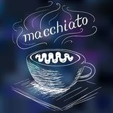 Sketch of coffee macchiato. Illustration Stock Images