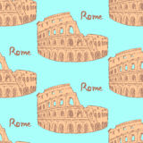 Sketch Coliseum, vector vintage seamless pattern Stock Photo