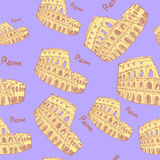 Sketch Coliseum,  vintage seamless pattern Royalty Free Stock Photos