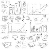 Sketch collection business elements in vector. Drawing freehand Royalty Free Stock Image