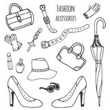 Sketch collection of women accessories. Fashion set. Hand drawn vector . Stock Photography