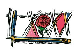 Sketch colored simple pencils lines pink rose decorative style. Sketch color, drawn simple turned pencils and crossed lines with a stylized rose Stock Photos
