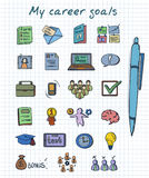 Sketch Colored Career Development Elements Set. With business human resources and management icons on note isolated vector illustration Stock Images
