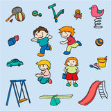Sketch Colored Children Amusements Collection Royalty Free Stock Photography