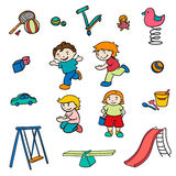 Sketch Colored Children Entertainments Set Stock Photos