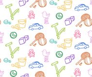 Sketch Colored Children Toys Seamless Pattern Stock Photography